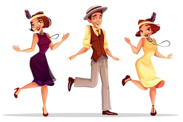 ジャズダンサーチャールストン帽子の中年女性と男のイラスト ベクター