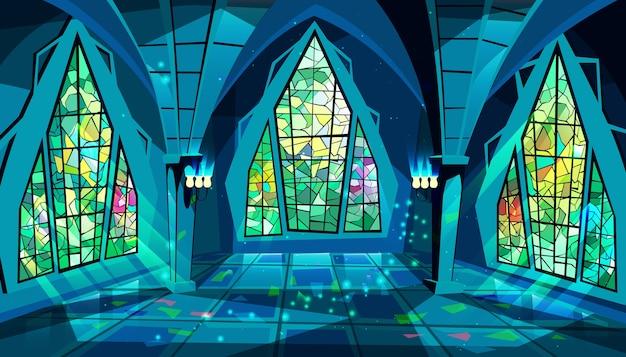 ボールルームまたは宮殿ステンドグラスの窓で夜に王室ゴシック様式のホールのイラスト 無料ベクター