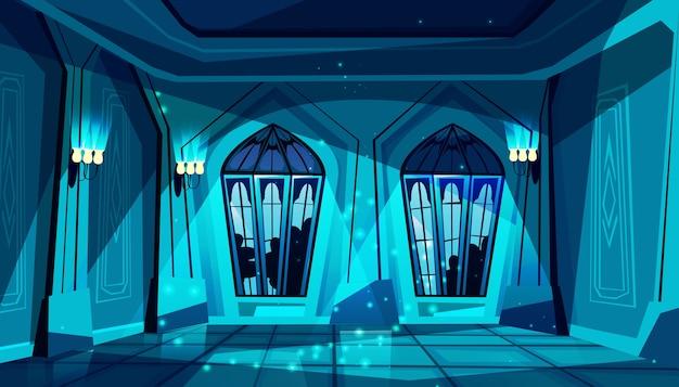 ステンドグラスの窓が付いた暗いゴシック様式の城のボールルーム。ダンス、プレゼンテーションのためのホール 無料ベクター