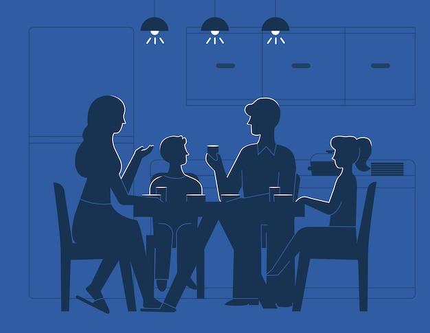 家族、夕食、テーブル、イラスト 無料ベクター