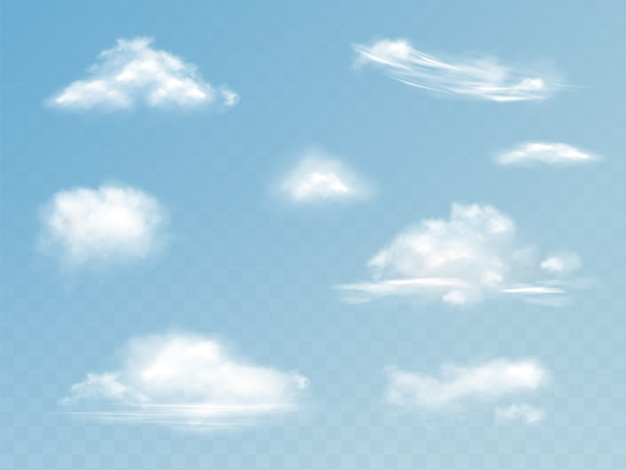 Облачность реалистичный набор иллюстрации полупрозрачного облачного неба с пушистыми облаками Бесплатные векторы