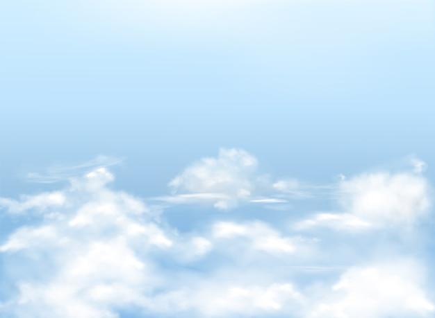 Голубое небо с белыми облаками, реалистичный фон, естественный баннер с небес. Бесплатные векторы