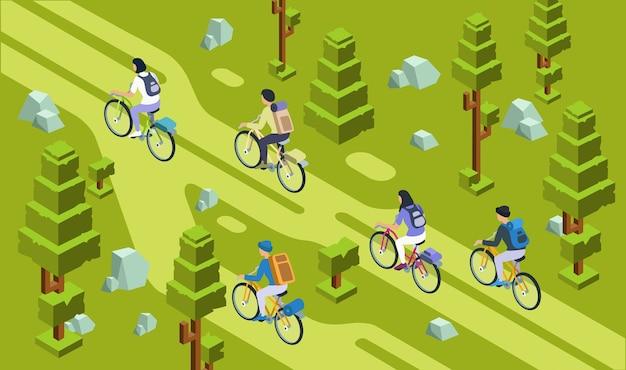 Туристы мужчин и женщин, ездящие на велосипеде вместе в лесу Premium векторы