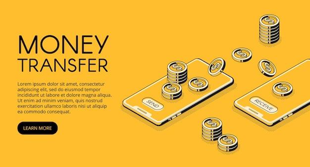 携帯電話アプリケーションでのオンラインバンキングのお金転送図。 無料ベクター