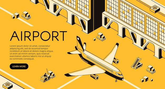 飛行機の空港貨物ロジスティクス、フォークリフトローダーパレットの荷物 無料ベクター