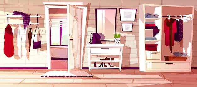 開いた白い扉を持つ漫画の廊下。家のインテリアの背景。 無料ベクター