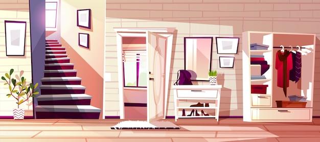 レトロアパートの廊下や店の入り口の廊下部屋のインテリアのイラスト 無料ベクター