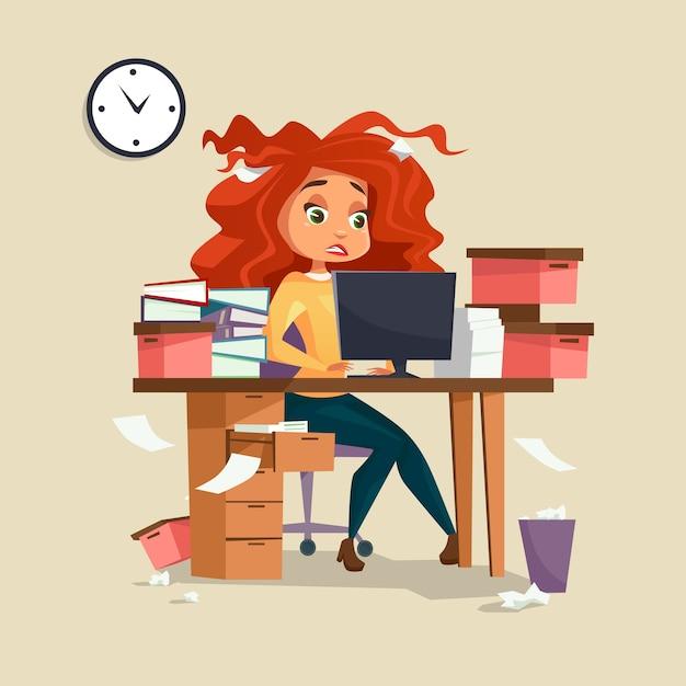Мультфильм девушка менеджер, работающих на компьютере с растрепанными волосами Premium векторы