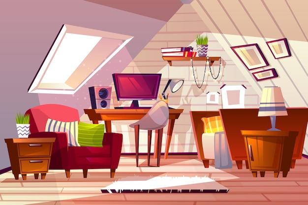 屋根裏部屋の室内のイラスト。女の子の寝室や生活の漫画のガレットのデザインの背景 無料ベクター