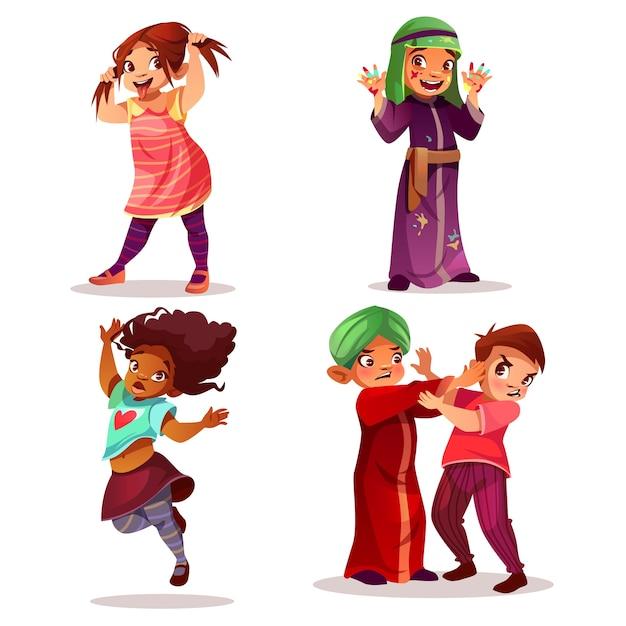 いたずらな子供たち子供のいたずらと誤動作のイラスト。 無料ベクター