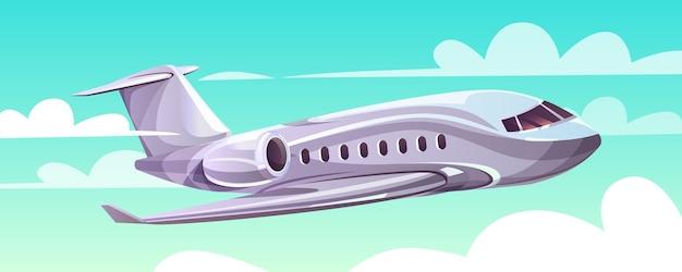 Самолет, летящий в небо иллюстрация мультфильм современный самолет в облаках для турагентства Бесплатные векторы