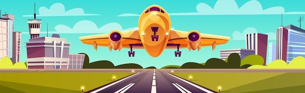 漫画のイラストレーション、滑走路の黄色の軽い航空機。飛行機の離陸または着陸 無料ベクター