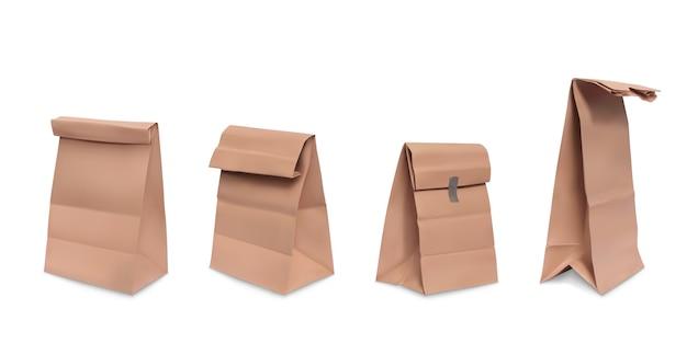 紙袋、食事のための茶色の紙の食料品の袋の現実的なイラストのセット 無料ベクター
