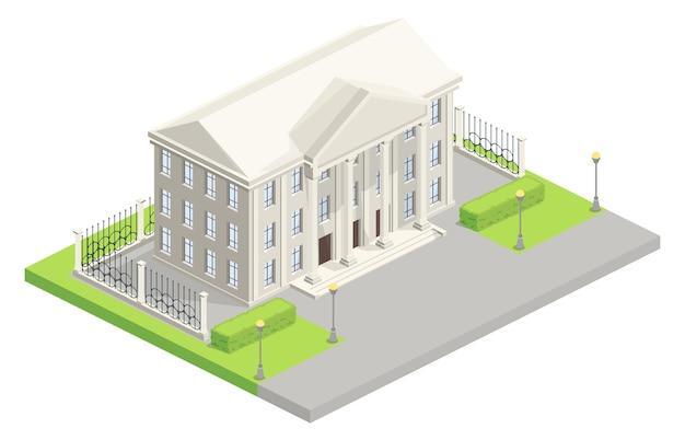 市庁議事堂のアイソメ図 無料ベクター