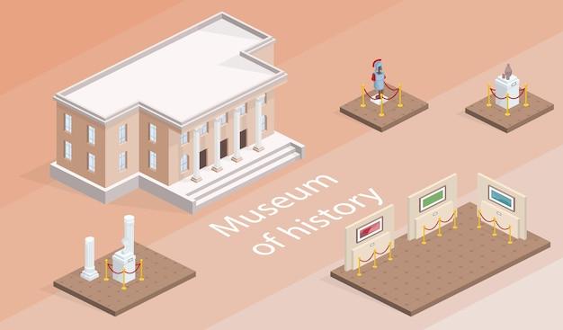 美術館展覧会のアイソメ図 無料ベクター