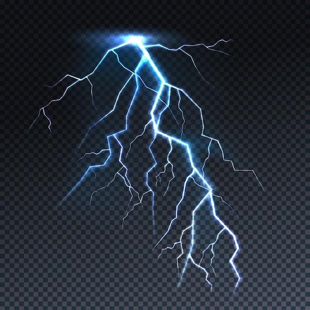 稲妻や雷灯の光のイラスト。 無料ベクター
