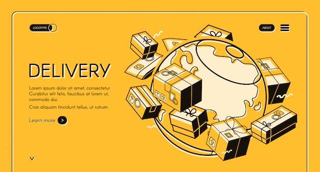 アイソメタル細線設計による世界の郵便配達イラスト 無料ベクター