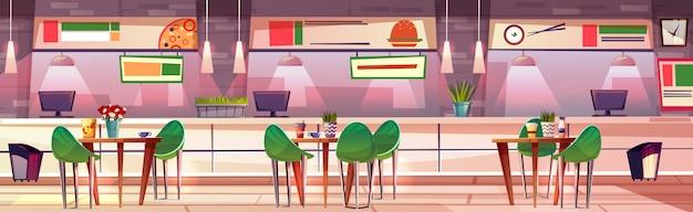 Продовольственный суд в магазине магазина иллюстрации интерьера кафе. суши, пицца и фаст-фуд гамбургеры Бесплатные векторы