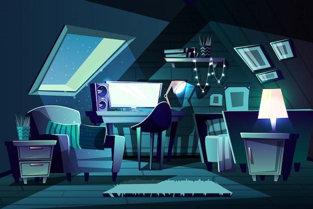 Иллюстрация номер девушки в ночное время. мультяшная чердак с окном, кресло с подушкой Бесплатные векторы