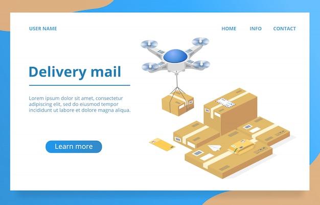 ドローン技術による小包配送 無料ベクター