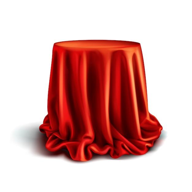 Реалистичные коробки покрыты красной шелковой тканью, изолированных на белом фоне. Бесплатные векторы