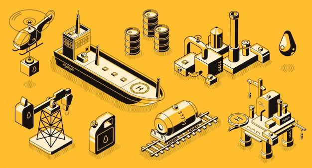 石油の抽出と精製、石油産業の輸送、物と建物のラインアート 無料ベクター