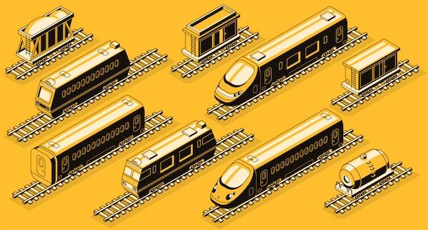 鉄道輸送、列車の要素アイソメトリーセット。 無料ベクター