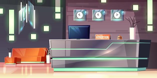Мультфильм фон приемной отеля, фойе. современный письменный стол, подсветка пустого зала. Бесплатные векторы