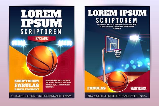 Рекламный плакат или брошюра по баскетбольному турниру с баскетбольным мячом и обручем Бесплатные векторы
