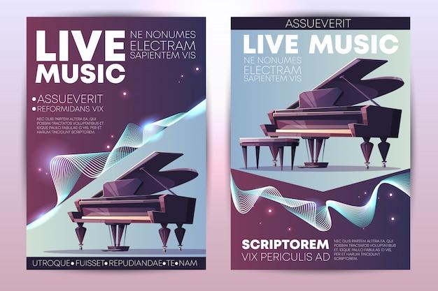 クラシックまたはジャズの音楽祭、交響楽団のライブコンサート、ピアノの巨匠 無料ベクター