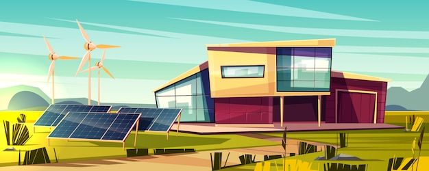 Энергетически независимый, эффективный дом мультфильм концепции. современный коттедж с солнечной панелью Бесплатные векторы
