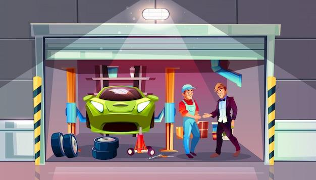 車のガレージタイヤは交換用イラストを変更します。メカニックとクライアントが手を振る 無料ベクター