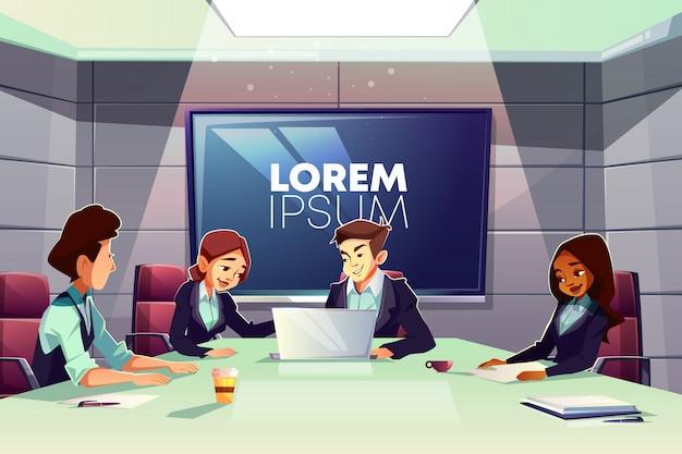 オフィスの会議室漫画で一緒に働くビジネスマンの多国籍チーム 無料ベクター