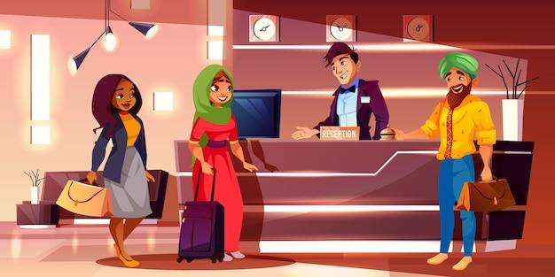 Регистрация вновь прибывших гостей на стойке регистрации мультфильма Бесплатные векторы