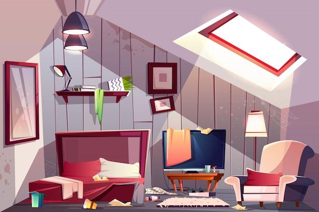 散らばった服、ステンドグラスの壁と屋根裏部屋のインテリアの乱雑な屋根裏部屋または寝室 無料ベクター