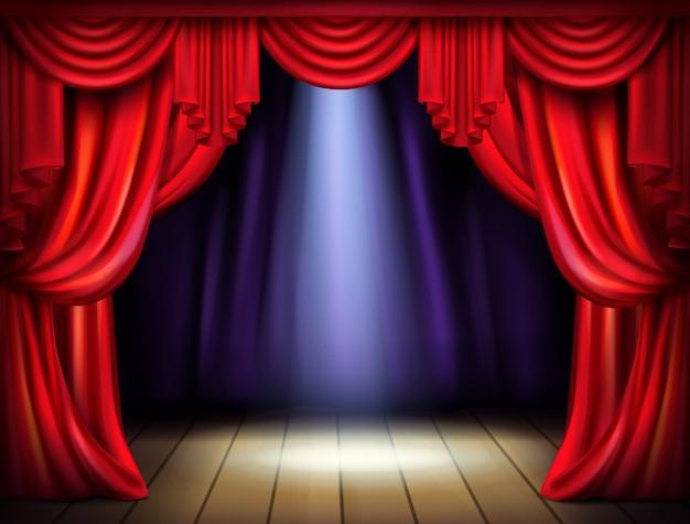 木の床に開いた赤いカーテンとプロジェクター光ビームの空のステージ 無料ベクター