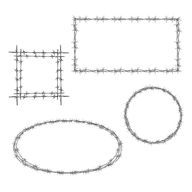 有刺鉄線の四角形、正方形と円形のフレームで花輪 無料ベクター