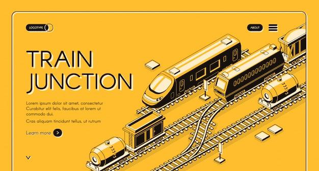 Железнодорожный узел, транспортный узел, изометрический веб-баннер с пассажирскими и грузовыми поездами Бесплатные векторы