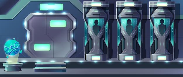 ガラスカプセルで成長している女性と男性の人間と人間のクローニング漫画 無料ベクター