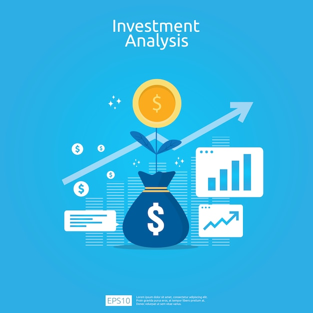 ビジネスマーケティング戦略バナーの金融投資分析の概念 Premiumベクター