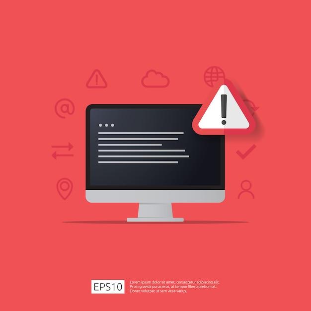 Предупреждение предупреждение злоумышленник предупреждающий знак с восклицательным знаком на экране монитора компьютера. остерегайтесь бдительности интернет-символа символа опасности. Premium векторы