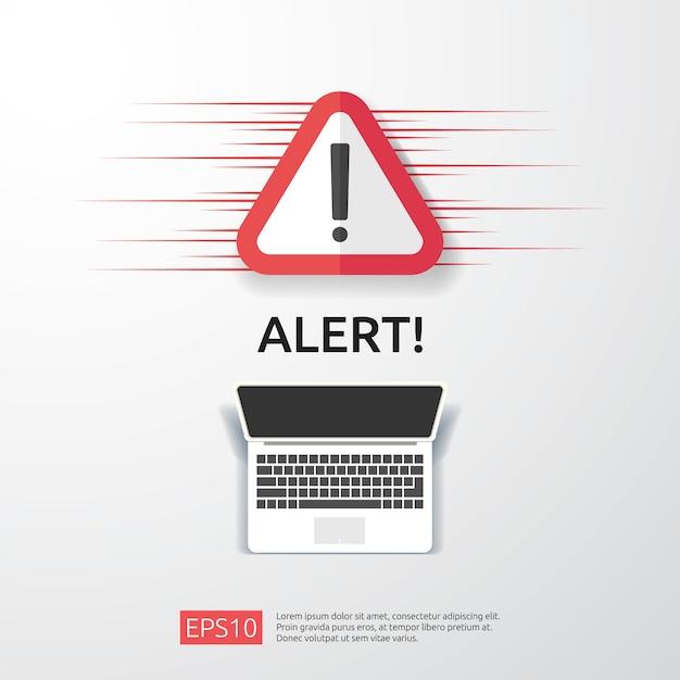 コンピューターのモニター画面に感嘆符付きの注意警告攻撃者警告サイン。インターネット危険シンボルアイコンの警戒に注意してください。 Premiumベクター