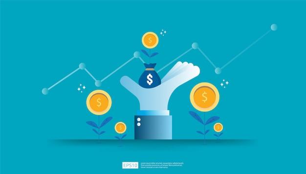 投資収益率、利益機会の概念。成功へのビジネス成長の矢。増加グラフグラフで大きな投資家の手にドルコイン植物お金袋を成長します。 Premiumベクター
