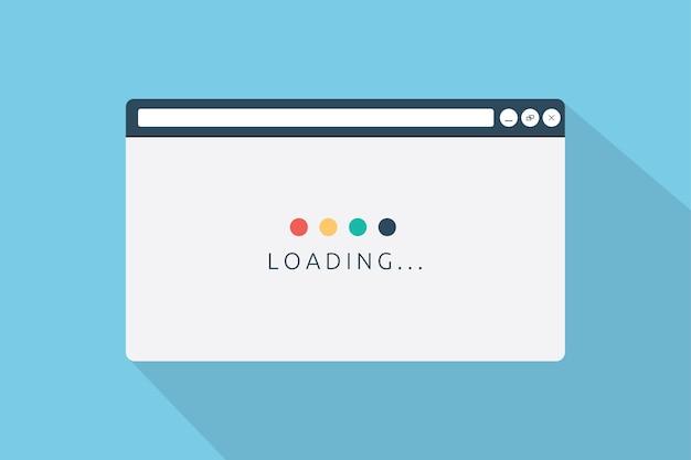 フラットスタイルのページブラウザを読み込む Premiumベクター