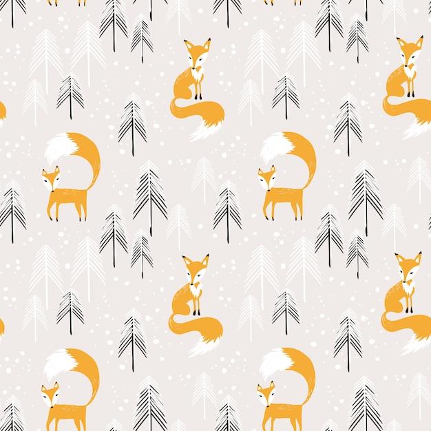 Оранжевый лис в зимнем лесу бесшовные модели Premium векторы