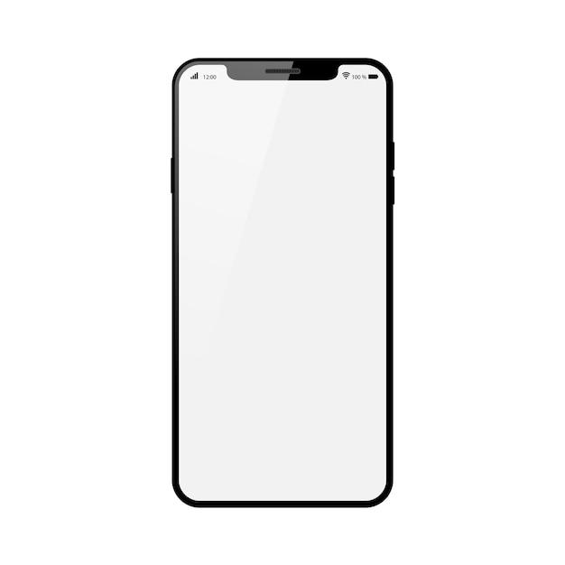 白い背景に白いタッチスクリーンが付いている黒いスマートフォン。 Premiumベクター
