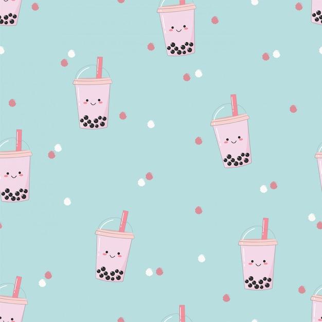 Симпатичные бесшовные пузырь чай с молоком шаблон. Premium векторы