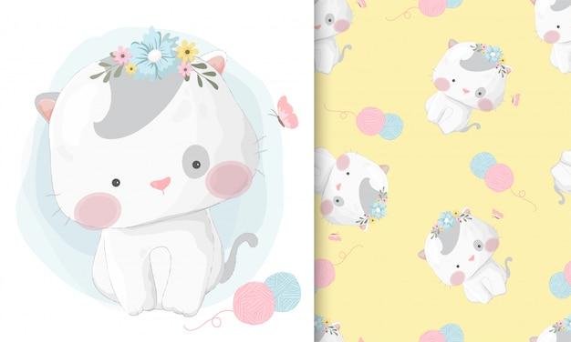 シームレスパターンセットでかわいい手描き猫 Premiumベクター
