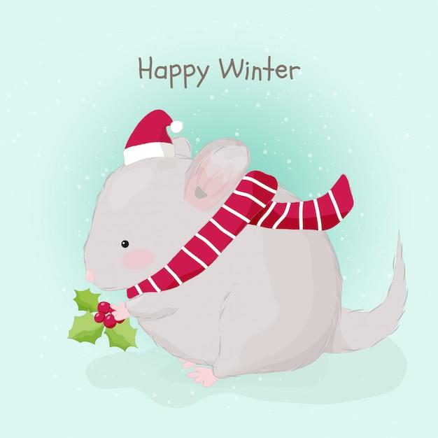 サンタの帽子をかぶってかわいい手描き脂肪マウス Premiumベクター