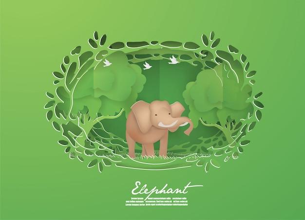 緑の森の動物、野生動物の概念の象。 Premiumベクター